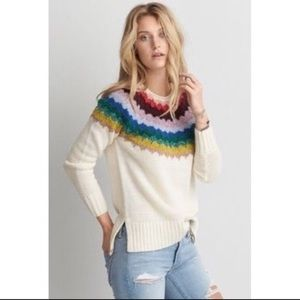 American Eagle • Rainbow Knit Sweater Sz M